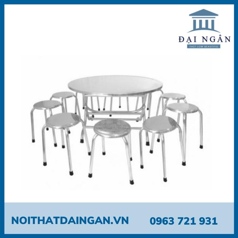 Bộ bàn ghế tròn inox 10 người