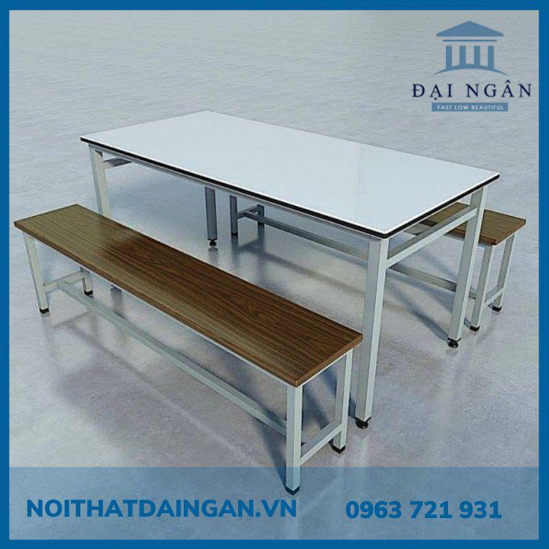 Bộ bàn ăn 60x180 cm và băng ghế dài công nghiệp 25x180 cm