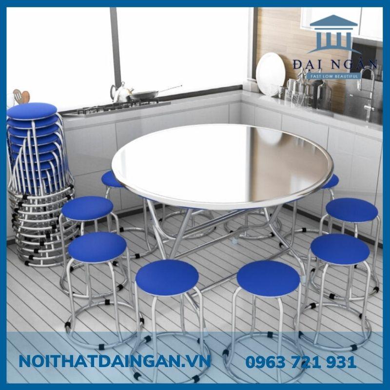 Bộ bàn tròn inox 10 ghế đôn