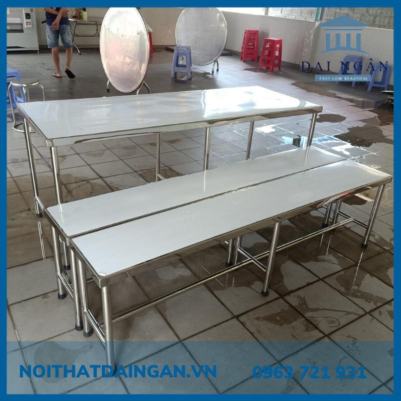 Bộ bàn inox dài 304 + ghế inox băng dài 2m