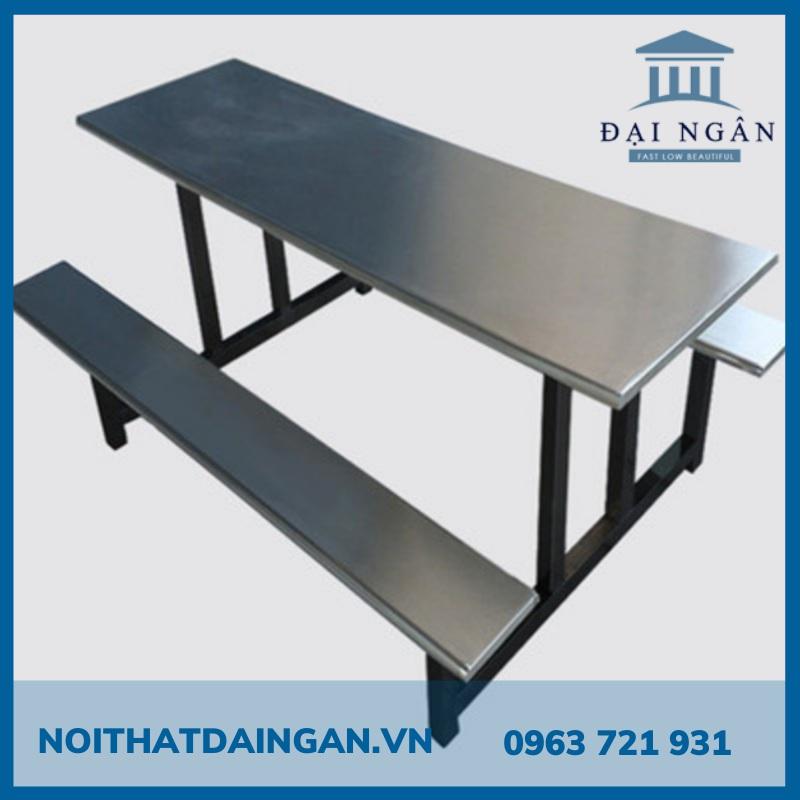 Bộ bàn ăn inox 201 gồm 2 băng ghế lớn 70x160cm