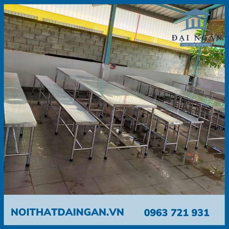 Bộ bàn ăn inox 304 gồm 2 băng ghế lớn 70x200 cm