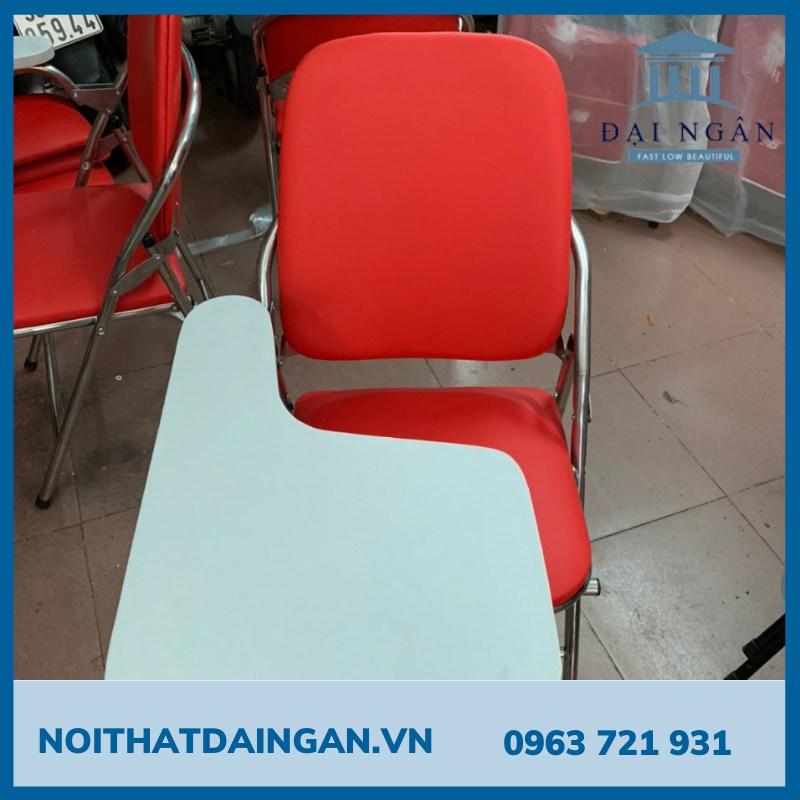 Ghế gấp liền bàn mặt gỗ mfc chân inox đỏ