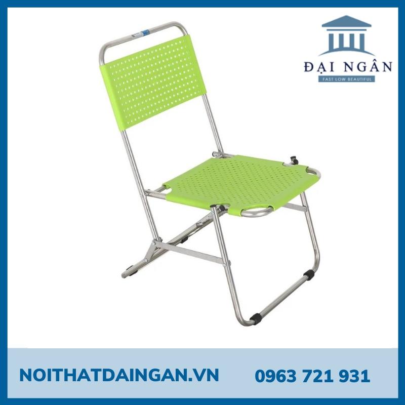 Ghế xếp nhựa lưng thấp xanh lá