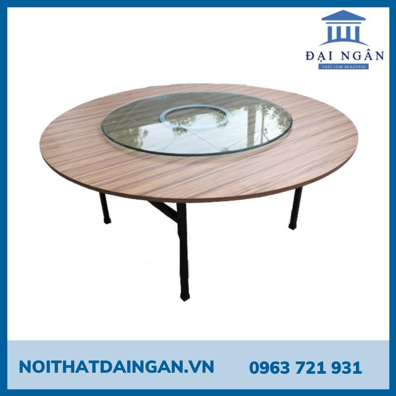 Bàn tròn 1m6 gỗ MDF chân sắt