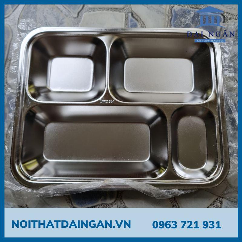Khay cơm 4 ô inox 304 K11